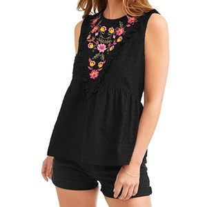 Embroidered Floral Colorful Boho Tunic Tank M